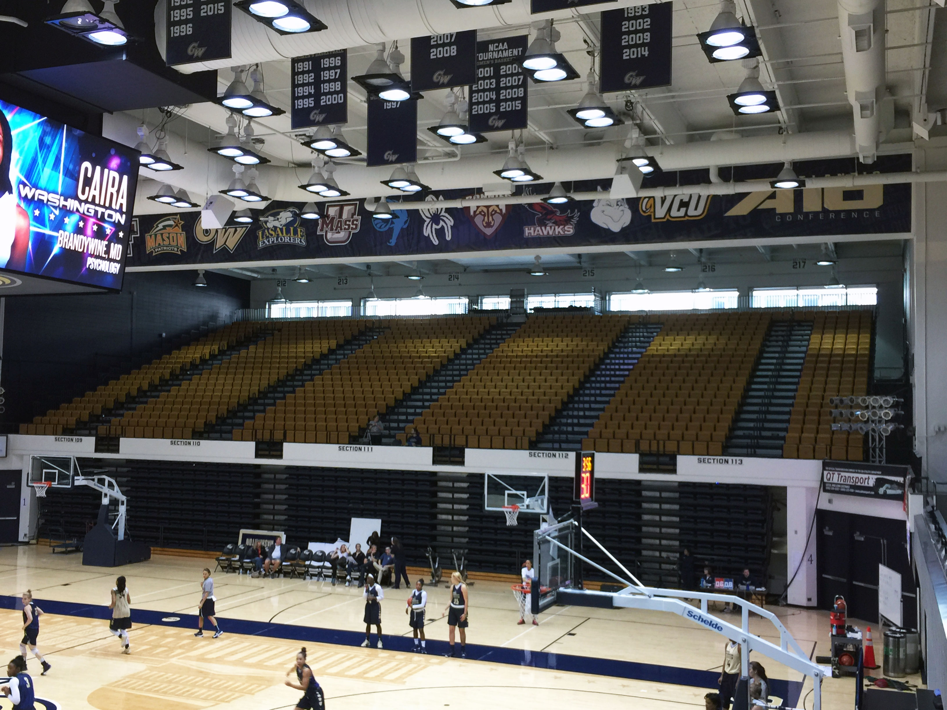 George Washington University Smith Center arena branding large format beam banners