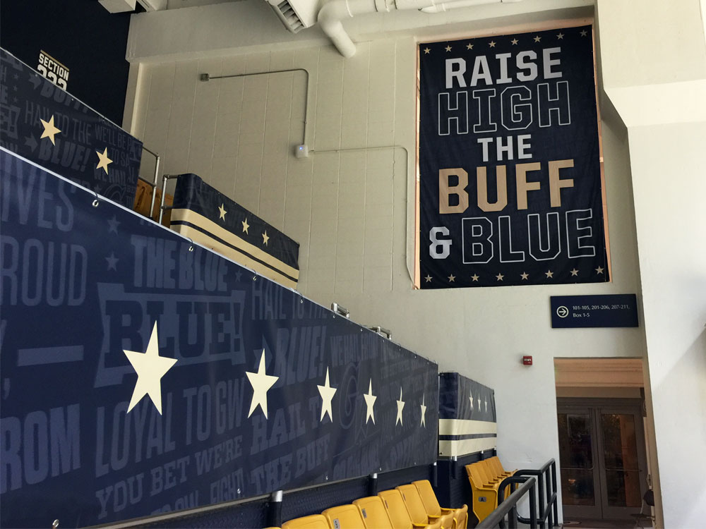 George Washington University Smith Center arena branding large format double sided fabric banners and railing banners