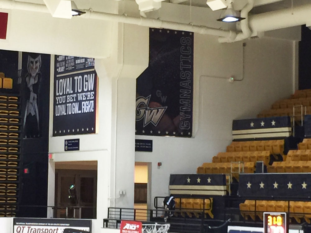 George Washington University Smith Center arena branding fabric banners