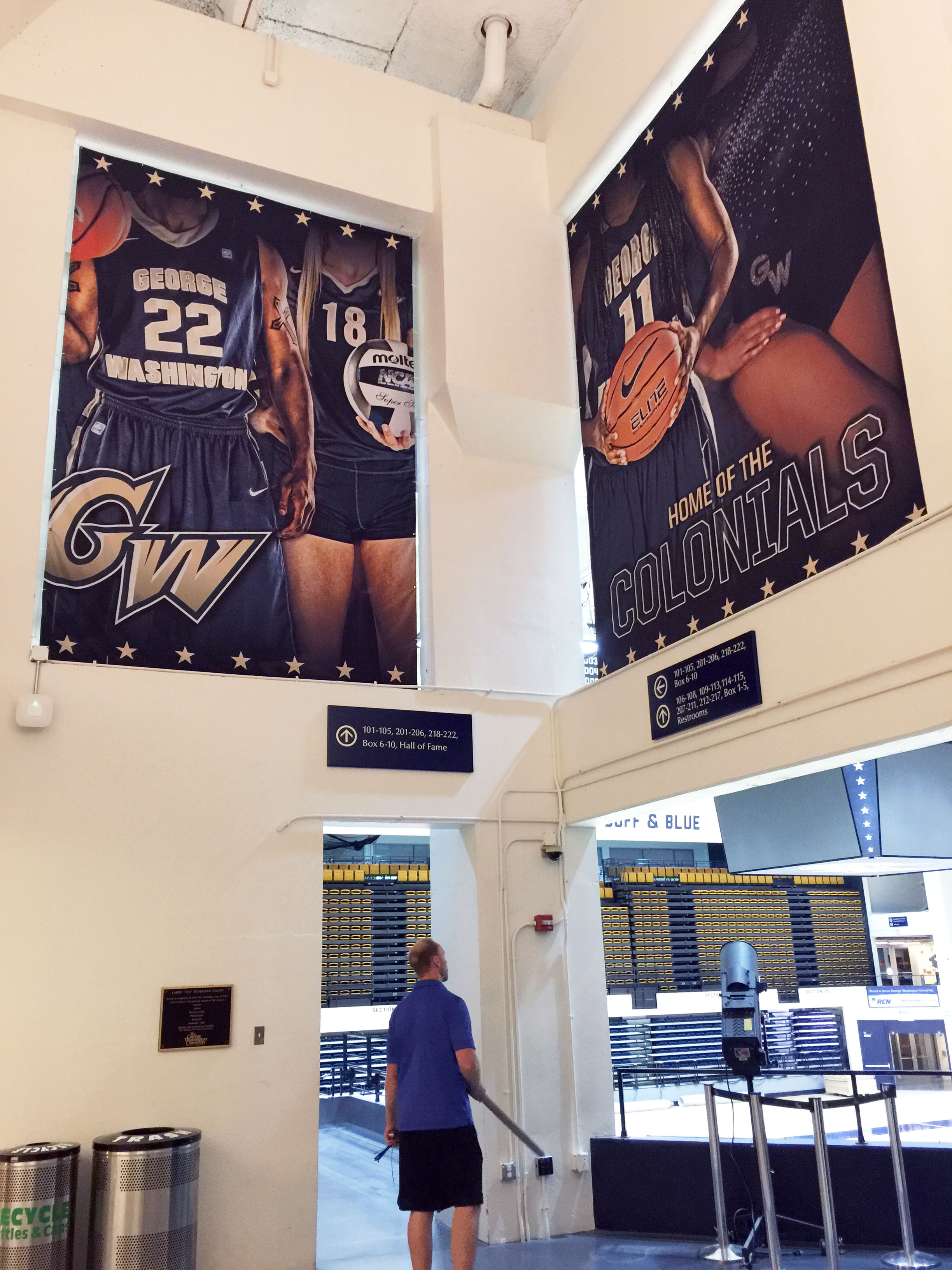 George Washington University Smith Center arena branding large format double sided fabric banners