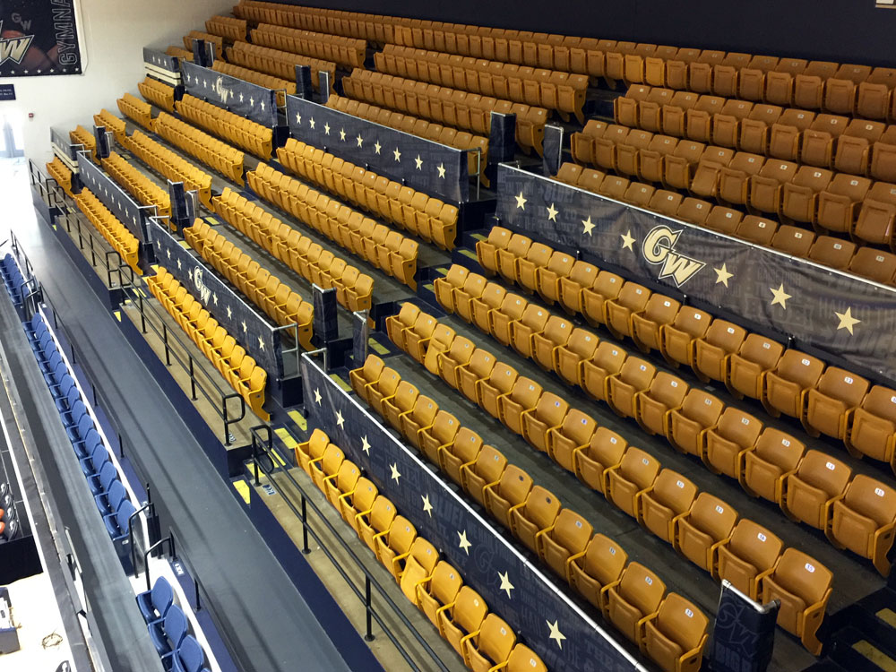 George Washington University Smith Center arena branding railing banners